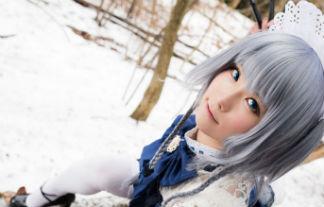 なぎさMK-2コスプレ咲夜写真42枚☆雪景色がとっても映える美10代小娘の東方咲夜のコスプレ写真☆