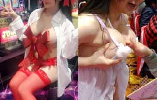 (衝撃)お乳丸出し、乳触らせサービス…あるグラドルがパオチンチン店をフウゾクみたいにしてる…(えろ写真96枚)