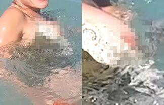 女優さん、水中で乳首ポロリしていた!水着動画アップした結果www【エロ画像24枚】
