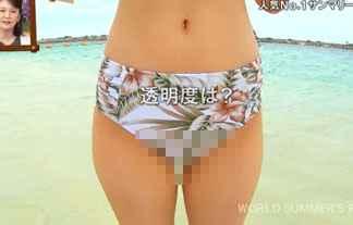 【放送事故】水着リポーター、マン毛ハミ出しハプニング!股間接写で撮影された結果www【エロ画像】